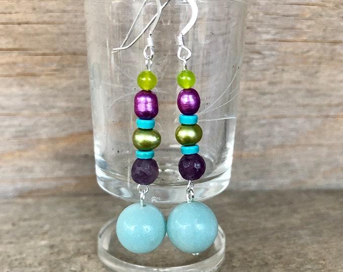 Lepidolite, Peridot, Turquoise, Pearl, & Amazonite Earrings