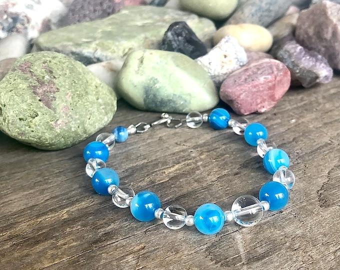 Blue Crazy Lace Agate & Quartz Crystal Bracelet
