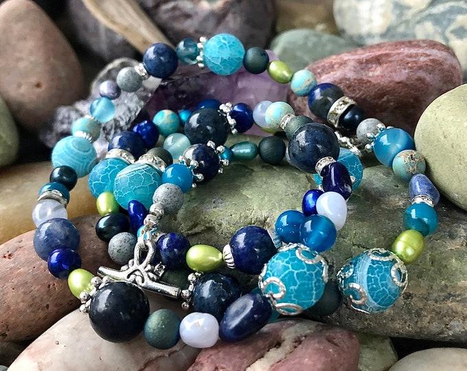 Blue Crazy Lace Agate, Lapis Lazuli, Sodalite, Jasper & Freshwater Pearl Necklace