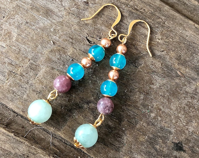 Blue Topaz, Amazonite, Pearl, & Purple Lepidolite Earrings