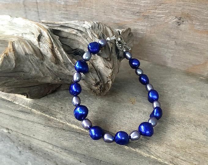Blue & Silver Freshwater Pearl Bracelet