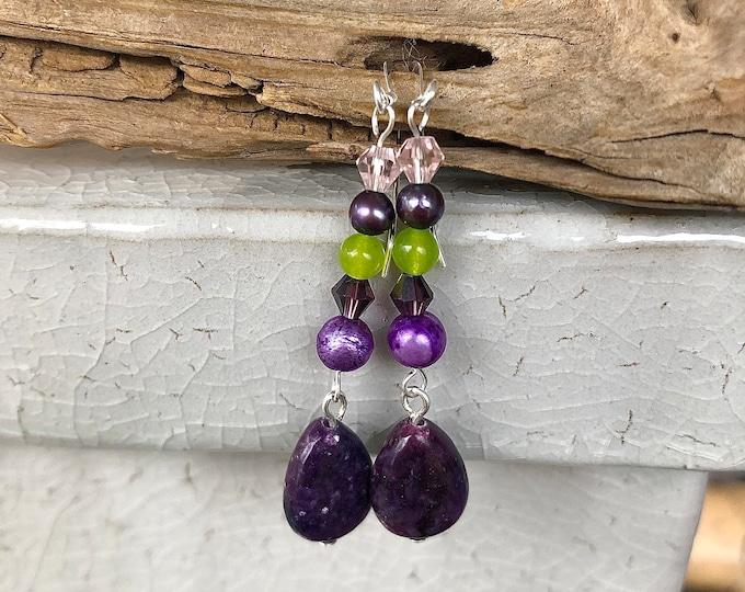 Purple Lepidolite, Freshwater Pearl & Crystal Earrings