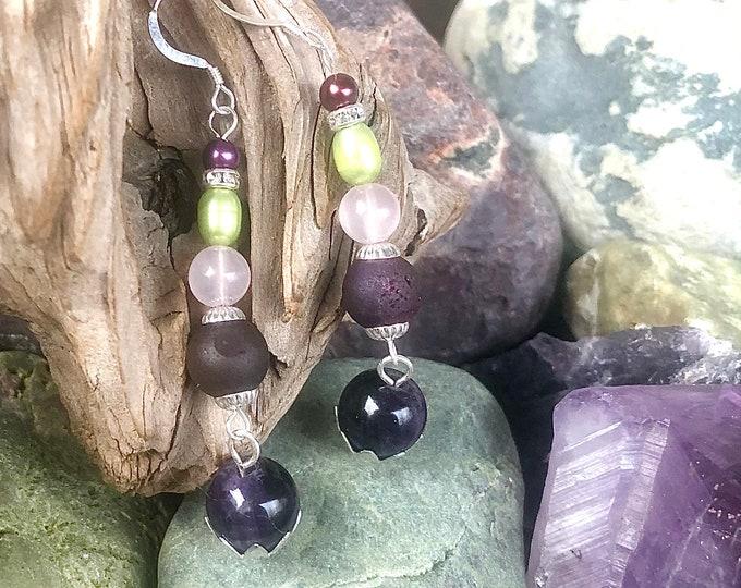 Pearl, Amethyst, Rose Quartz, & Purple Agate Druzy Earrings