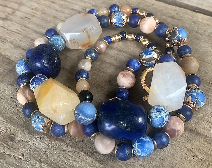 Lapis Lazuli Jasper Agate & Sunstone Necklace