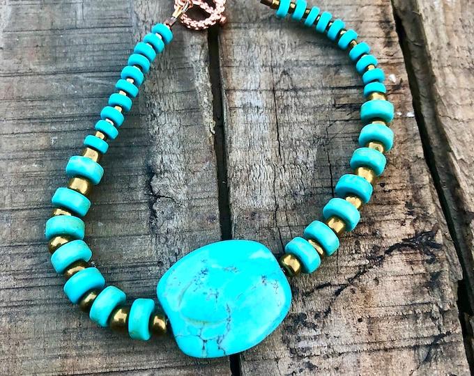 Turquoise Heishi & Copper Bracelet