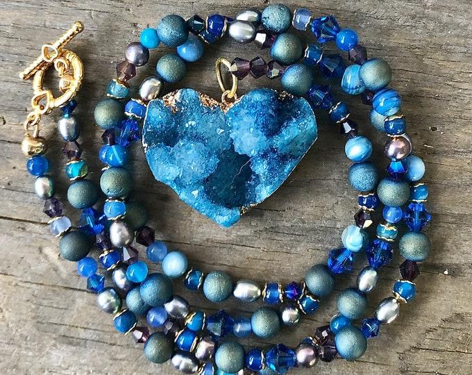Lapis Lazuli Pearl & Crystal Necklace, Agate Druzy Heart Pendant