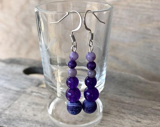 Purple Amethyst & Crazy Lace Agate Earrings