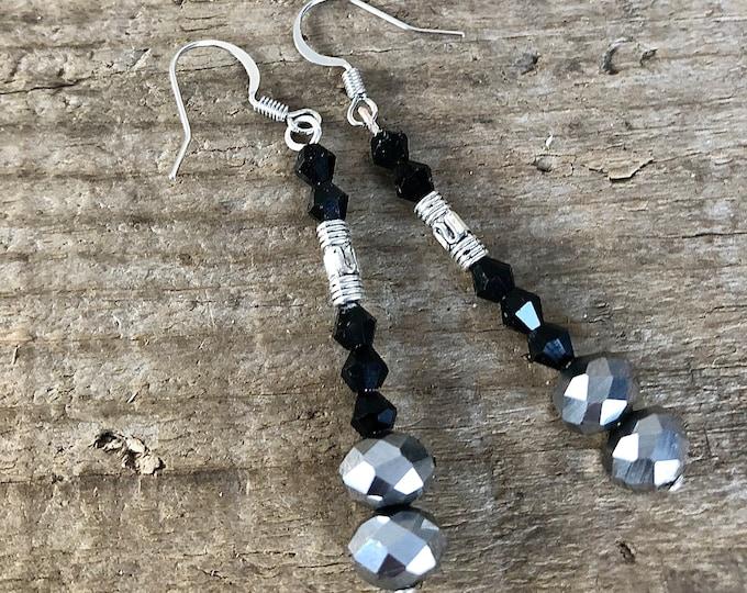 Black Crystal & Silver Earrings