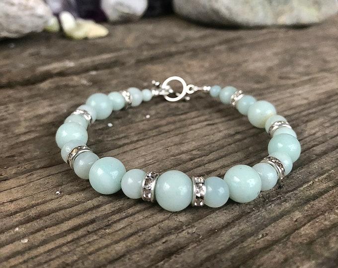 Blue Amazonite & Crystal Bracelet