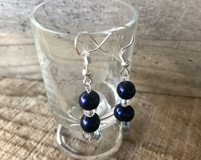 Navy Freshwater Pearl & Crystal Earrings