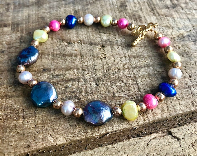 Brightly Colored Freshwater Pearl Summer Bracelet