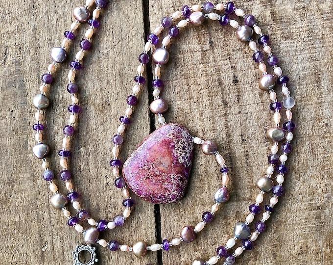 Amethyst, Freshwater Pear & Jasper Necklace