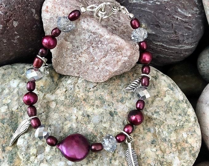 Wine Pearl, Crystal & Silver Charm Bracelet
