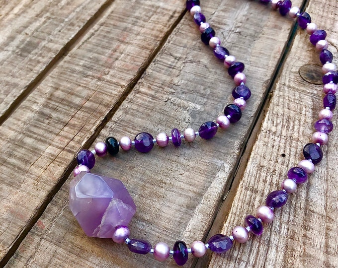 Amethyst & Freshwater Pearl Necklace
