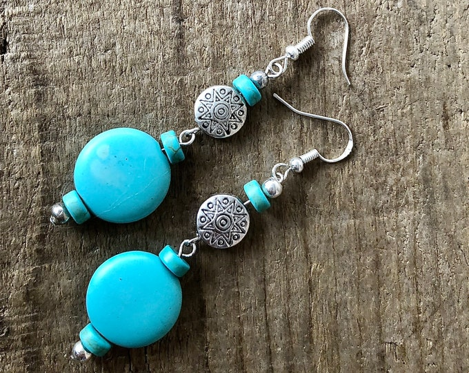 Boho Turquoise & Silver Earrings