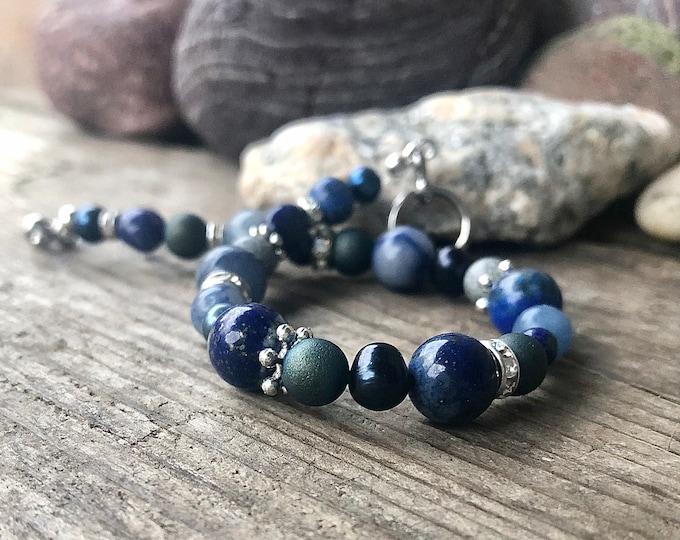 Lapis Lazuli Sodalite Crystal & Freshwater Pearl Bracelet
