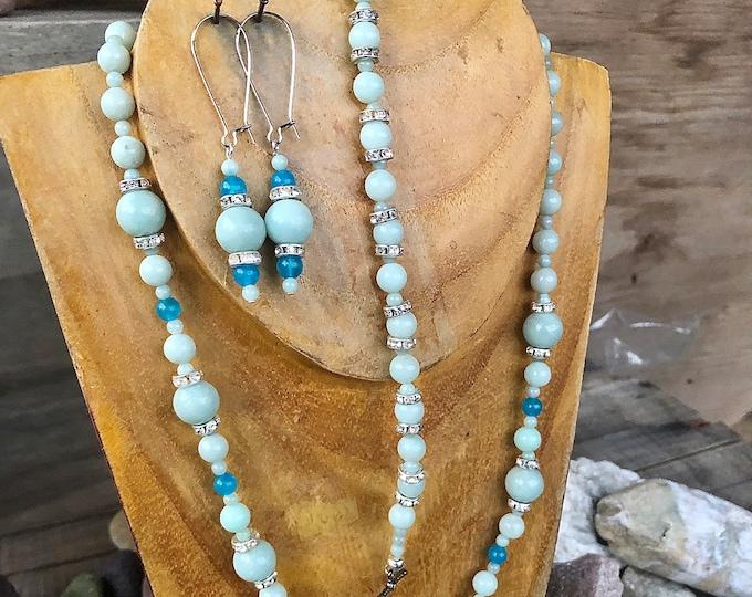Blue Amazonite Earrings Bracelet Necklace Set, Mom Birthday Gift for Girlfriend, Boho Handmade Gemstone Statement Jewelry Set