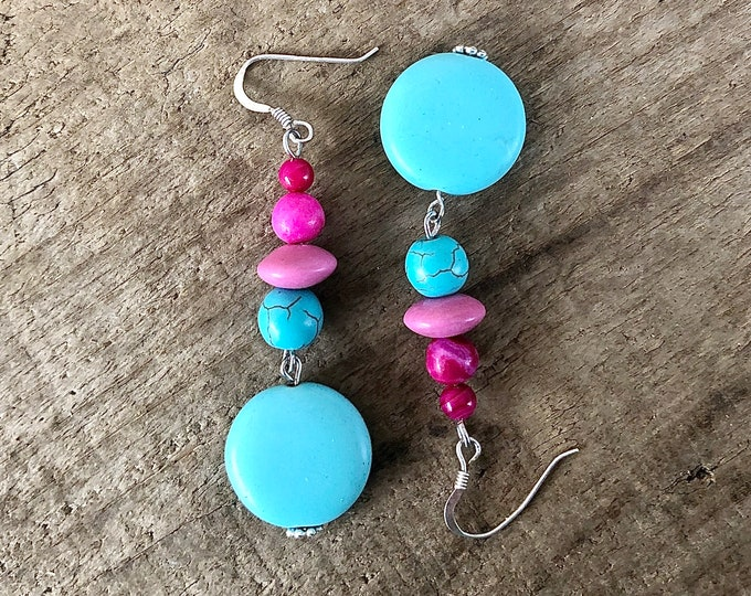 Rose Agate & Turquoise Drop Earrings