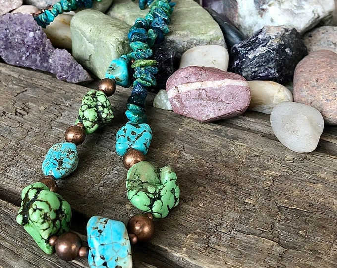 Raw Blue Green Turquoise  & Copper Necklace