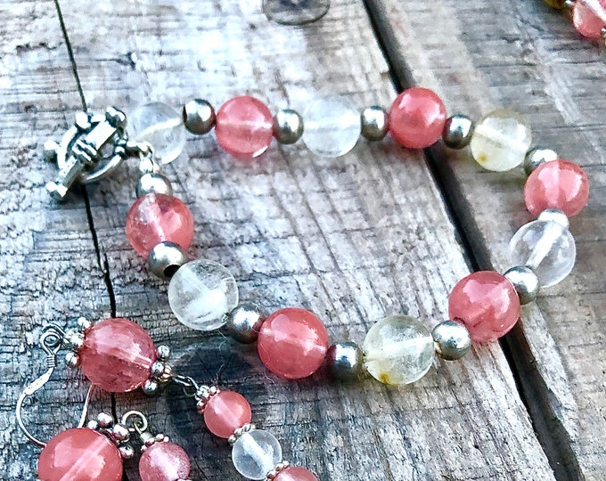 Coral and Crystal Fluorite Necklace