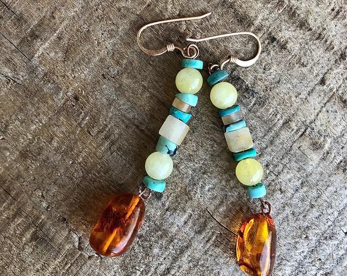 Turquoise Amber Citrine Jade Drop Earrings