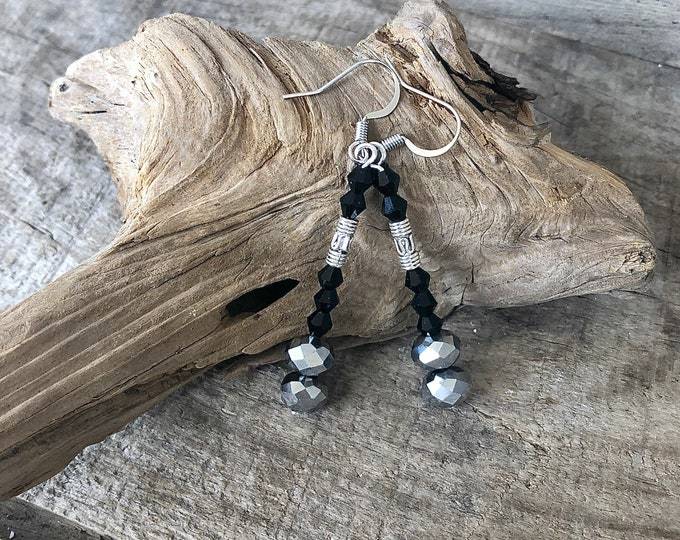 Silver and Black Crystal Earrings