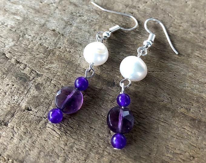 Purple Amethyst & White Pearl Earrings