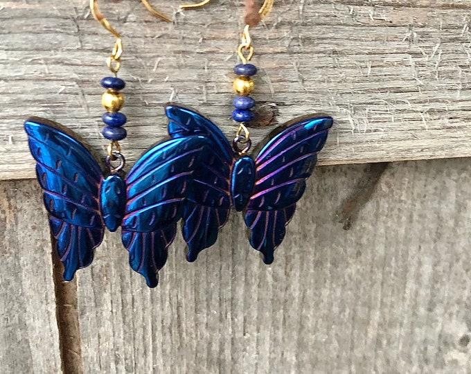 Titanium Hematite Butterfly Earrings