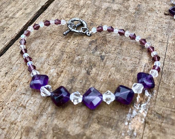 Amethyst & Crystal Bracelet