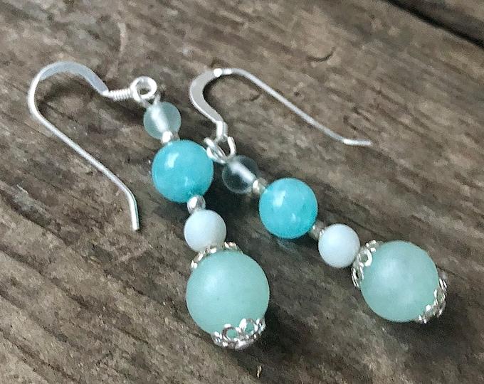 Blue Topaz Amazonite & Quartz Earrings