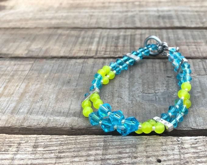 Blue Crystal & Peridot Bracelet