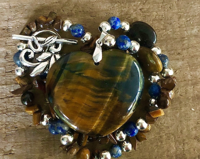 Tiger Eye & Blue Sodalite Heart Necklace