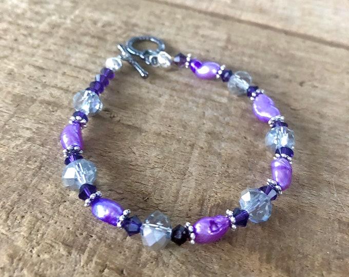 Purple Freshwater Pearl & Crystal Bracelet