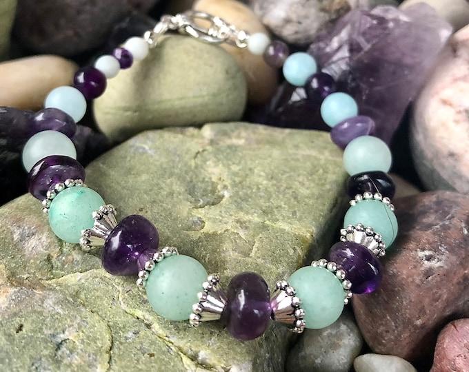 Blue Amazonite & Purple Amethyst Bracelet, Boho Bracelet