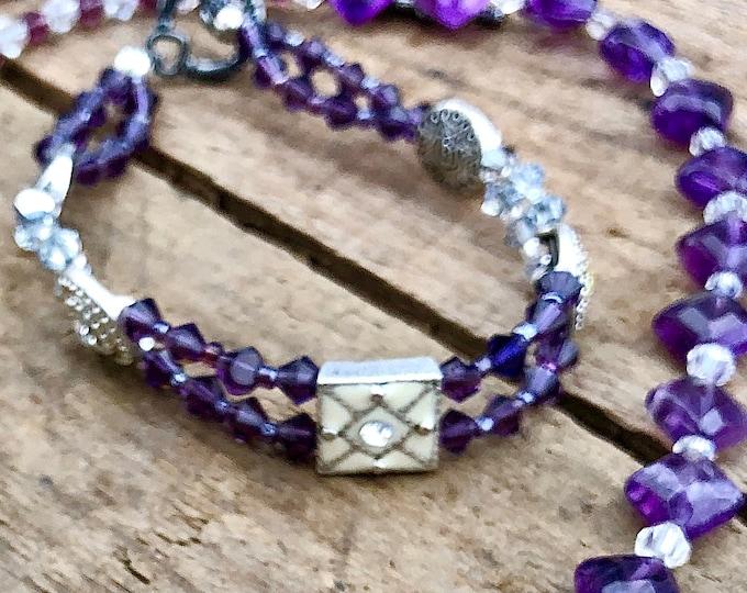 Purple & White Swarovski Crystal Bracelet
