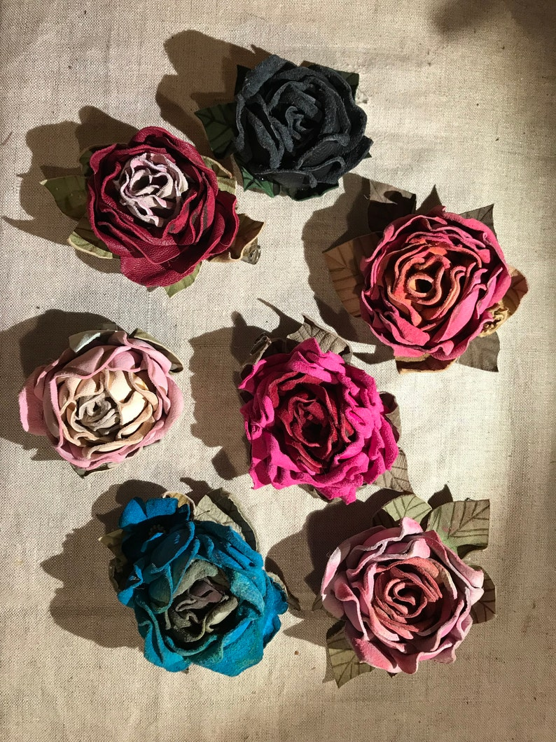 Dome Hollenstein Leather Rustic Barrette Pin Leather rose Beak clip Accessory costume Flowers Hair