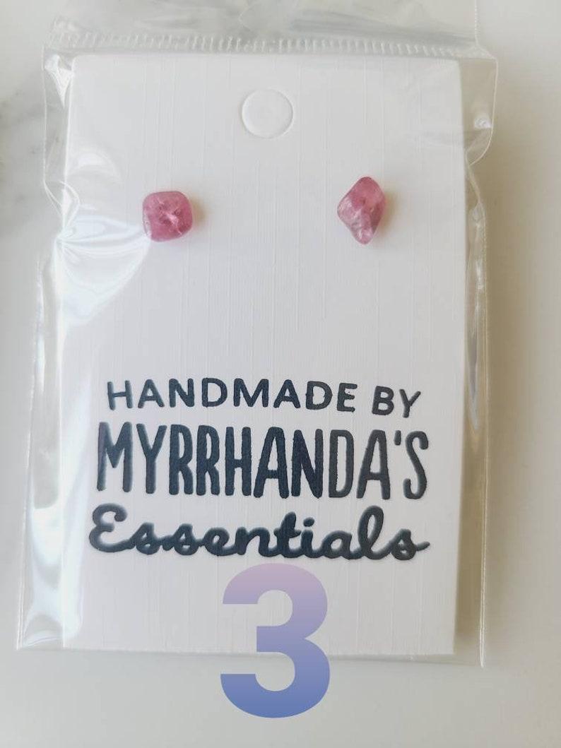 Pink Green Tourmaline earrings crystal gemstone tumbled