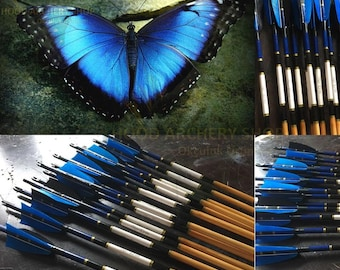 Traditional Personalized Archery Wooden Arrow For Recurve Bow & Longbow Blue Black Turkey Feather Medieval Ottoman Hunting Arrow Archer Gift