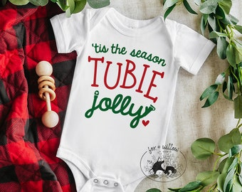 Tis the Season Tubie Jolly SVG, Christmas Tubie SVG, Feeding Tube Christmas, Feeding Tube Awareness, G-Tube | svg png dxf | cut file designs