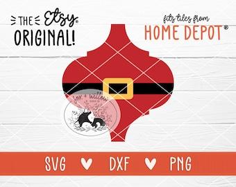 Santa Tile Ornament SVG, Tile Christmas Ornament Design, Bianco Arabesque Tile, Lantern Tile | svg dxf png | cut file for Cricut, Silhouette