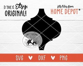 Bianco Arabesque Tile Template SVG   Lantern Shape SVG   dxf   png   Vector Cut File for Silhouette or Cricut Laser Vinyl htv waterslides