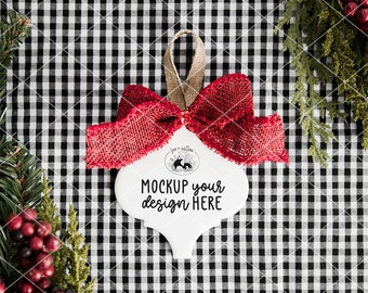 Tile Ornament with Red Bow Mockup Photo | Christmas Tile Ornament Mockup Photo | Blank Tile Ornament Mockup | Christmas Mockup Photography