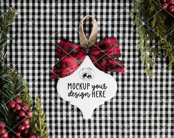 Tile Ornament with Plaid Bow Mockup Photo | Christmas Tile Ornament Mockup Photo | Blank Tile Ornament Mockup | Christmas Mockup Photography