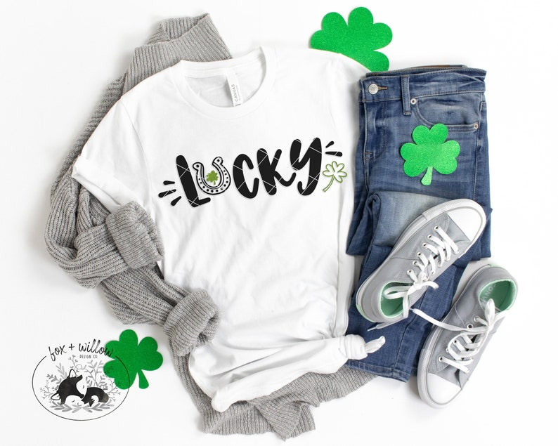 Lucky SVG St Pattys Day SVG Four Leaf Clover svg Luck of image 0