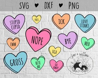 Anti Valentines SVG Bundle | Funny Valentines SVG Bundle | Conversation Hearts SVG | Candy Hearts svg | Love Stinks svg | Stupid Cupid svg
