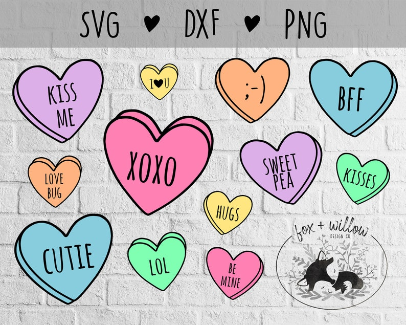 Conversation Hearts SVG Bundle  Valentines Hearts SVG  Candy image 0