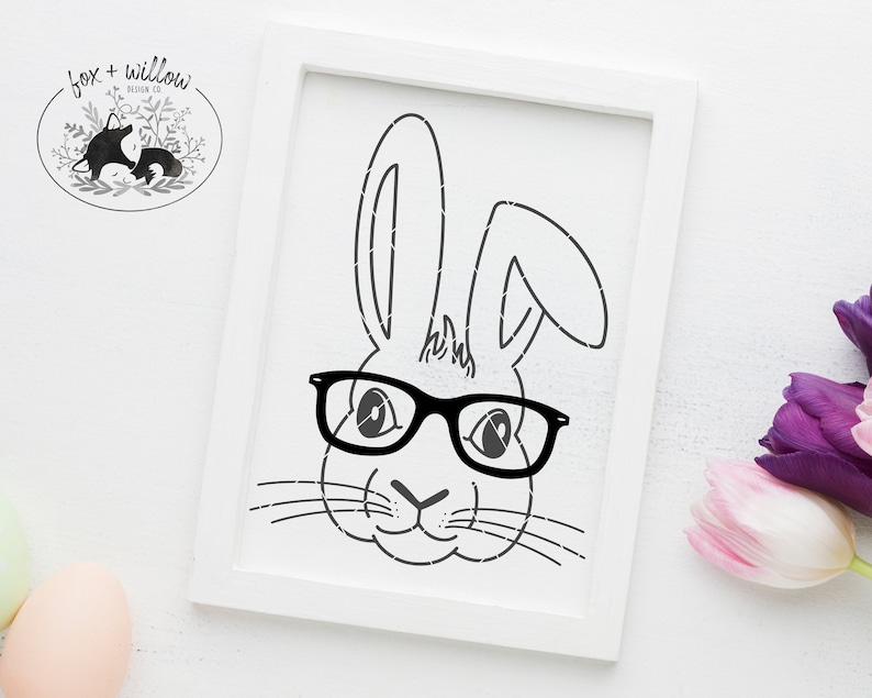 Hipster Bunny with Glasses SVG Easter Bunny Face SVG Hipster image 0