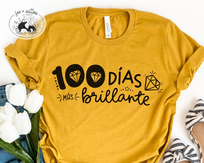 Spanish 100 Days of School Shirt SVG  100th Day of School SVG image 0