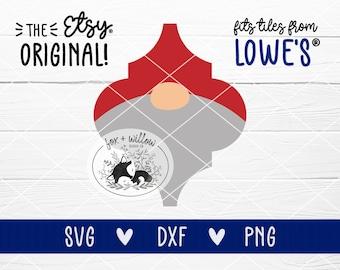 Gnome Tile Christmas Ornament Template SVG, Arabesque, Lantern Shape Tile Ornament | svg dxf png | cut files for Cricut, Silhouette, Laser
