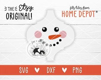 Snowman Tile Christmas Ornament Template SVG, Bianco Arabesque, Lantern Tile Ornament | svg dxf png | cut file for Cricut, Silhouette